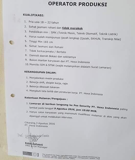 Lowongan Kerja Cikarang Terbaru Pt Hexa Indonesia Bulan Agustus 2016 Infokerja45